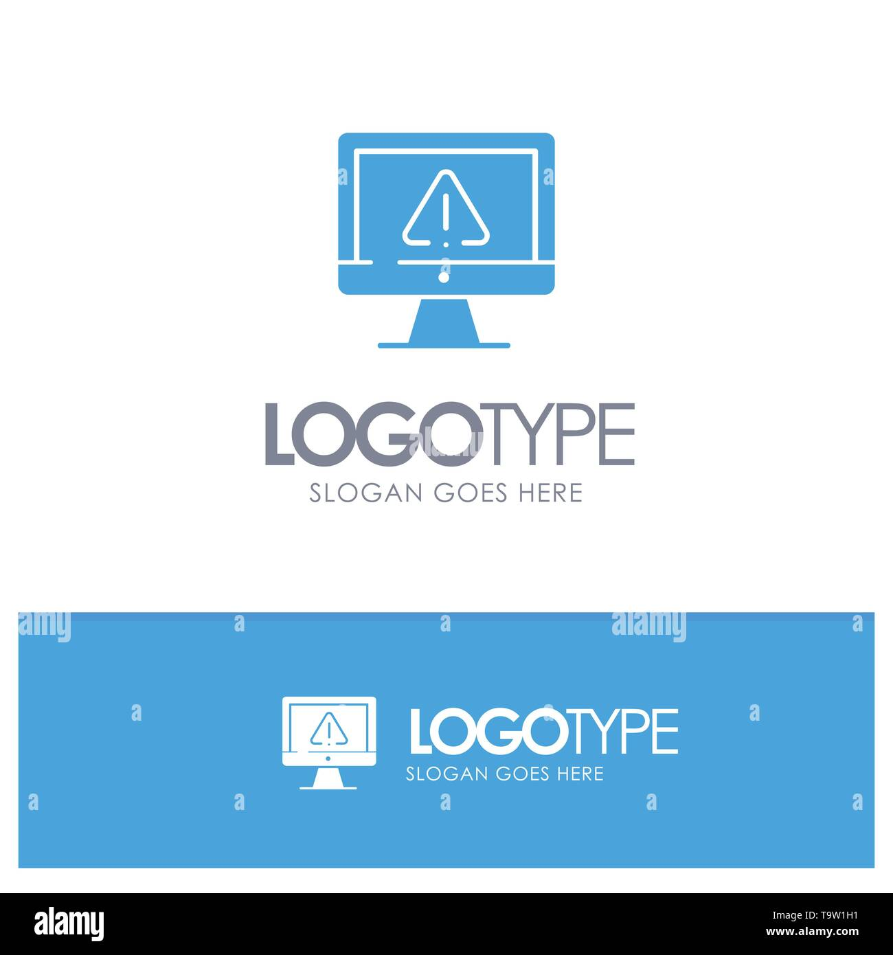 Computer, Data, Information, Internet, Security Blue Solid Logo with place for tagline - Stock Image
