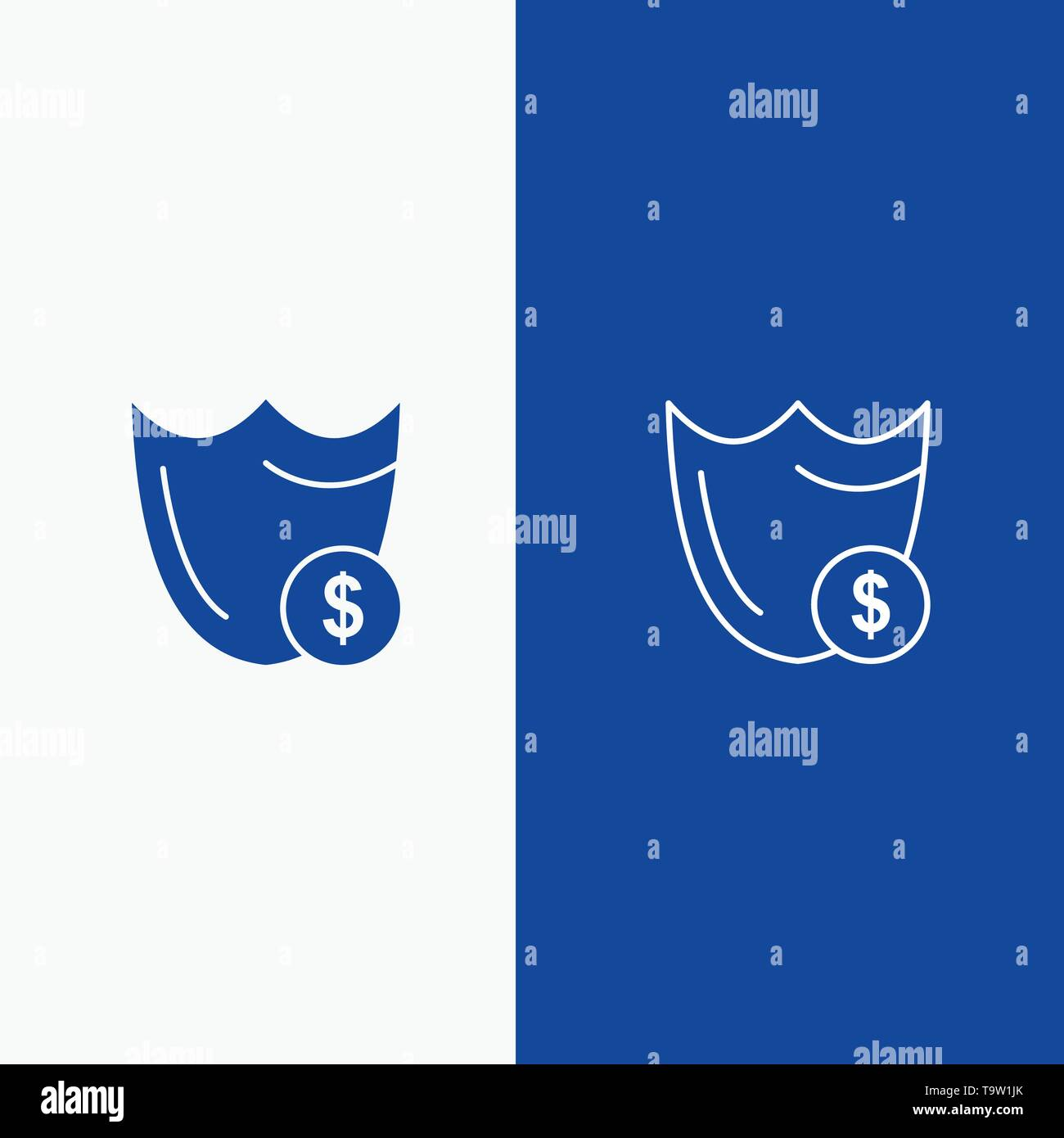 Shield, Guard, Safety, Secure, Security, Dollar Line and Glyph Solid icon Blue banner Line and Glyph Solid icon Blue banner - Stock Image