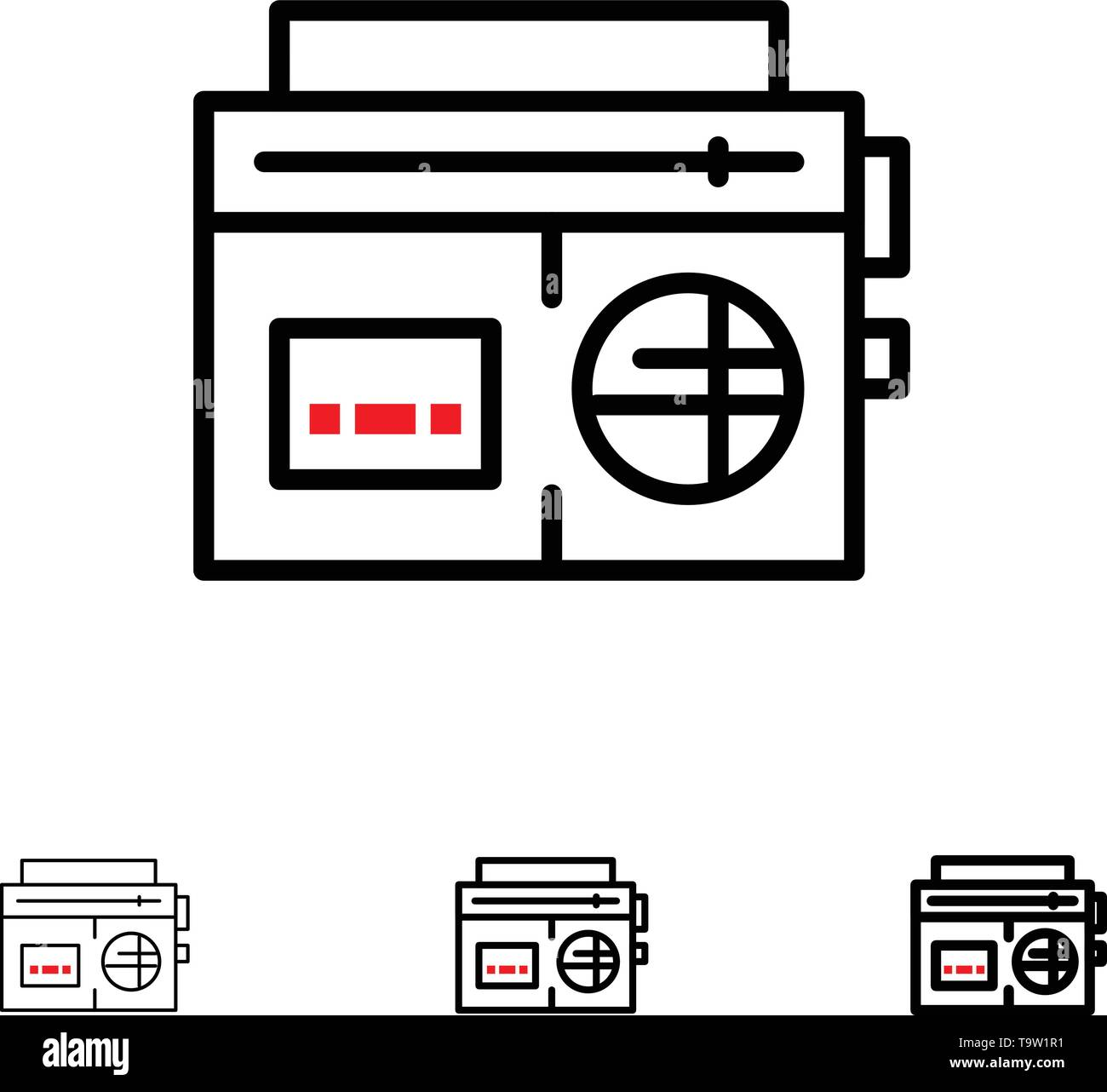 Tape, Radio, Music, Media Bold and thin black line icon set - Stock Image