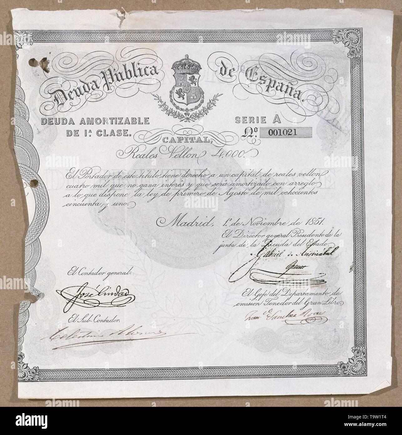 DEUDA PUBLICA ESPAÑA AKORTIZABLE 1 CLASE NOVIEMBRE 1851. Location: BOLSA DE COMERCIO-COLECCION. MADRID. SPAIN. - Stock Image