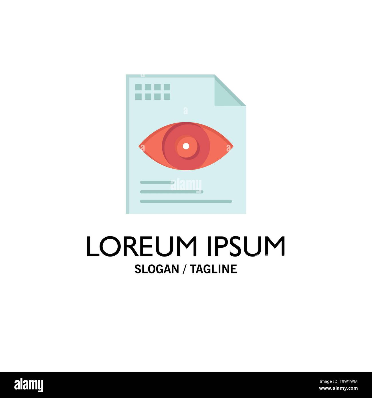 File, Text, Eye, Computing Business Logo Template. Flat Color - Stock Image