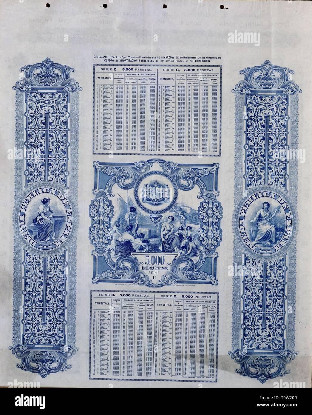 DEUDA AMORTIZABLE AL 5% ANUAL 2 MAYO 1917 5000 PTS. Location: BOLSA DE COMERCIO-COLECCION. MADRID. SPAIN. - Stock Image