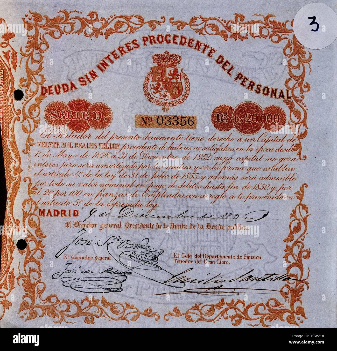 DEUDA SIN INTERES PROCEDENTE DEL PERSONAL MAYO 1828. Location: BOLSA DE COMERCIO-COLECCION. MADRID. SPAIN. - Stock Image