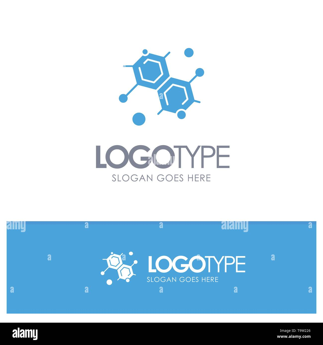 Chemist, Molecular, Science Blue Solid Logo with place for tagline - Stock Vector