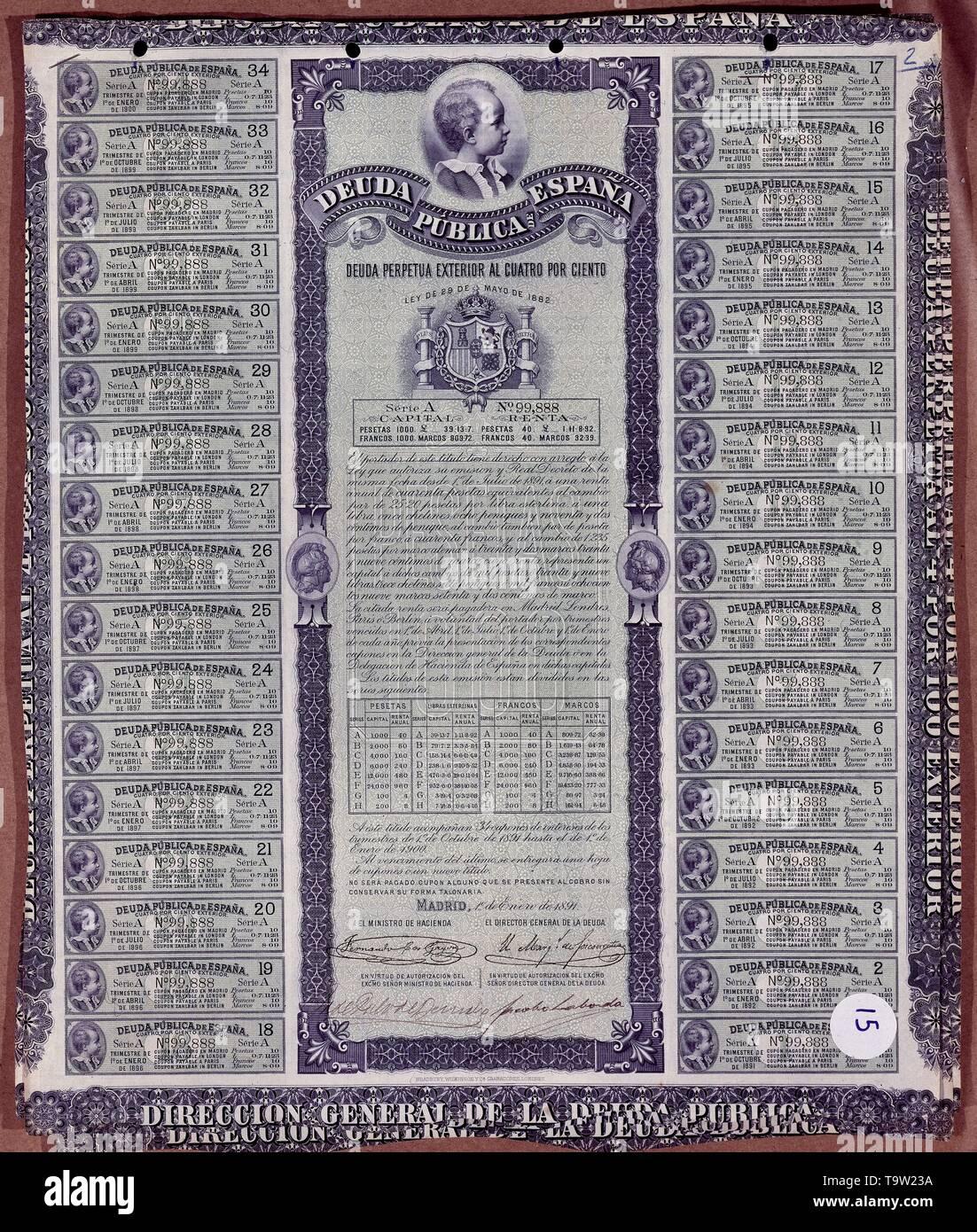 DEUDA PERPETUA EXTERIOR AL 4% ENERO 1891. Location: BOLSA DE COMERCIO-COLECCION. MADRID. SPAIN. - Stock Image