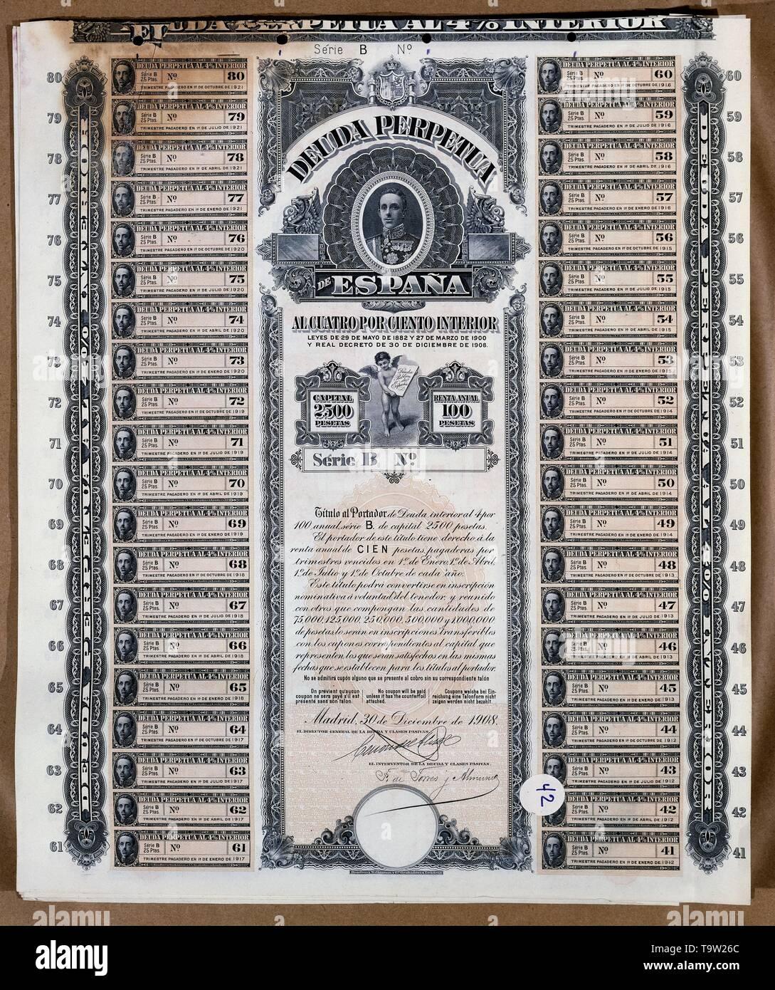 DEUDA PERPETUA DE ESPAÑA 4% INTERIRO 30 DICIEMBRE 1908. Location: BOLSA DE COMERCIO-COLECCION. MADRID. SPAIN. - Stock Image