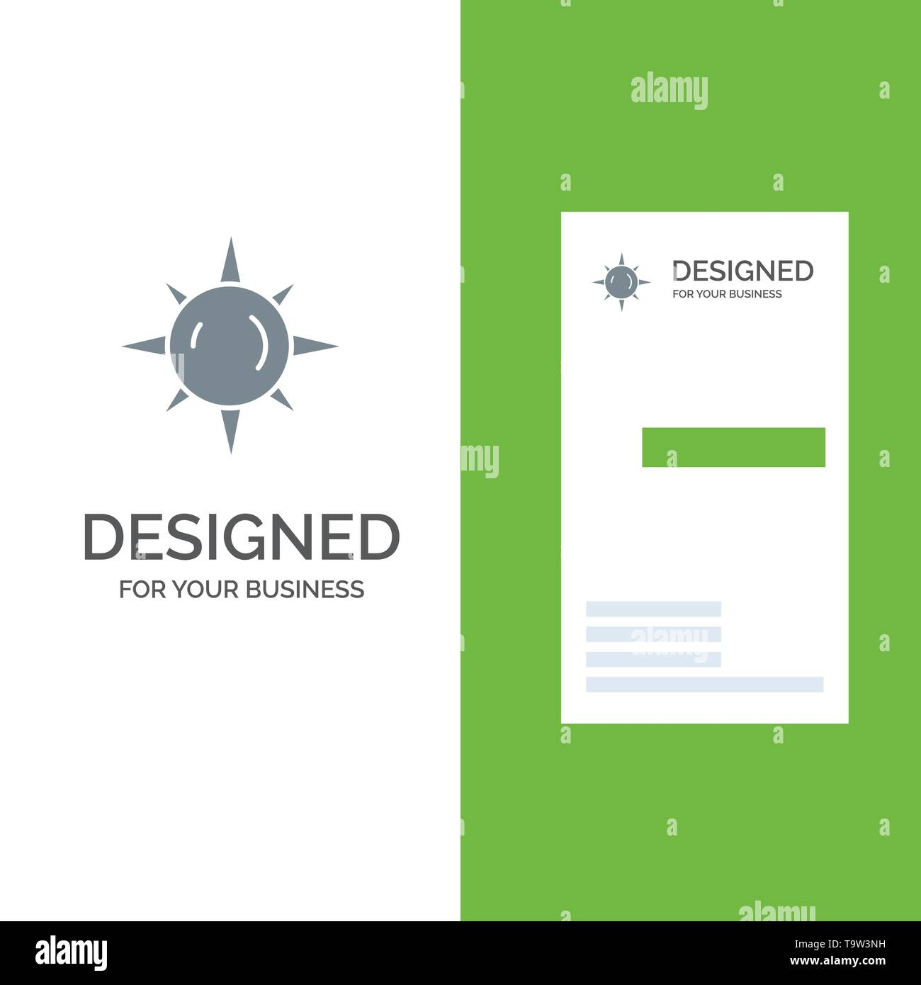 Sun, Day, Light Grey Logo Design and Business Card Template - Stock Image