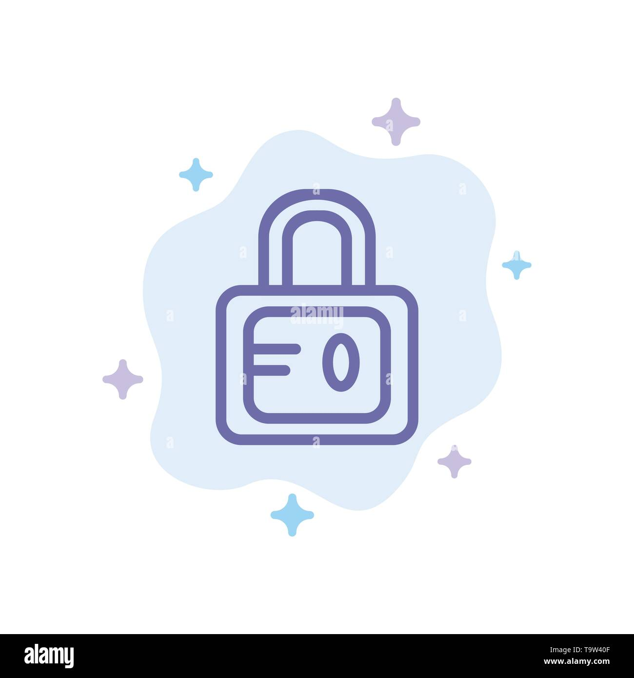 Lock, School, Study Blue Icon on Abstract Cloud Background - Stock Image