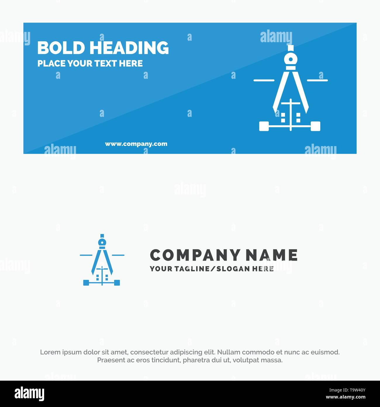 Compass, Drawing, Education, Engineering SOlid Icon Website Banner and Business Logo Template - Stock Image