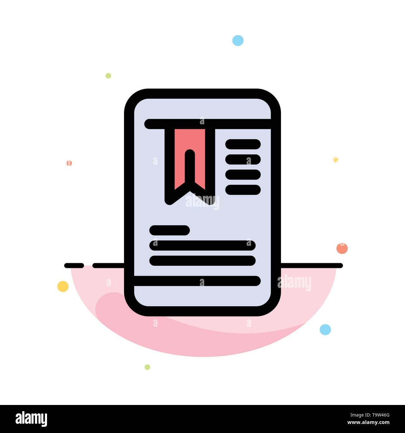 Mobile, Tag, OnEducation Abstract Flat Color Icon Template - Stock Image