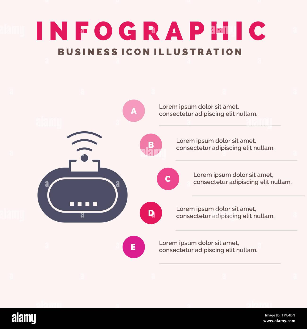 Device, Security, Wifi, Signal Solid Icon Infographics 5 Steps Presentation Background - Stock Image