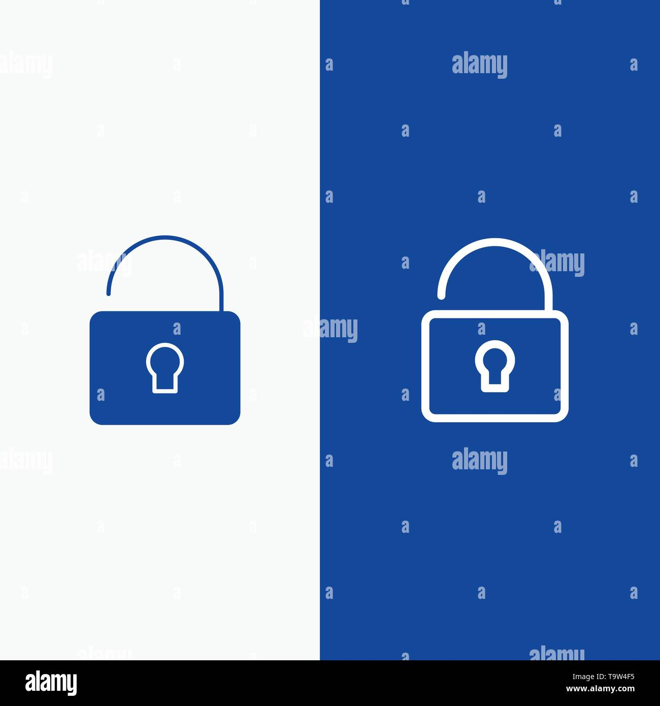 Unlock, Lock, Security Line and Glyph Solid icon Blue banner Line and Glyph Solid icon Blue banner - Stock Image