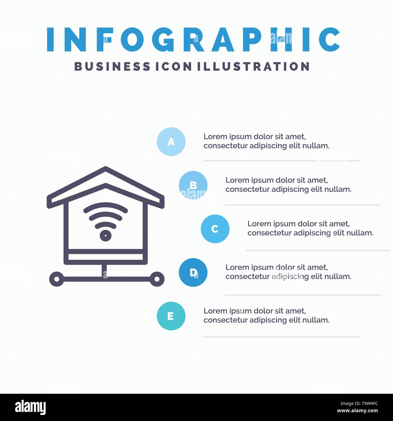 Security, Internet, Signal Line icon with 5 steps presentation infographics Background - Stock Image