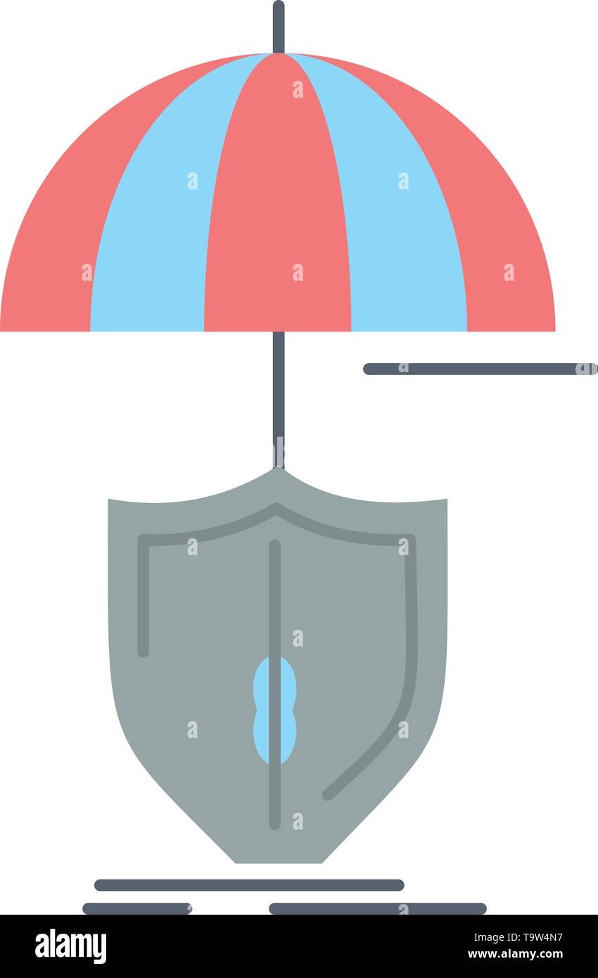 insurance, protection, safety, digital, shield Flat Color Icon Vector - Stock Image