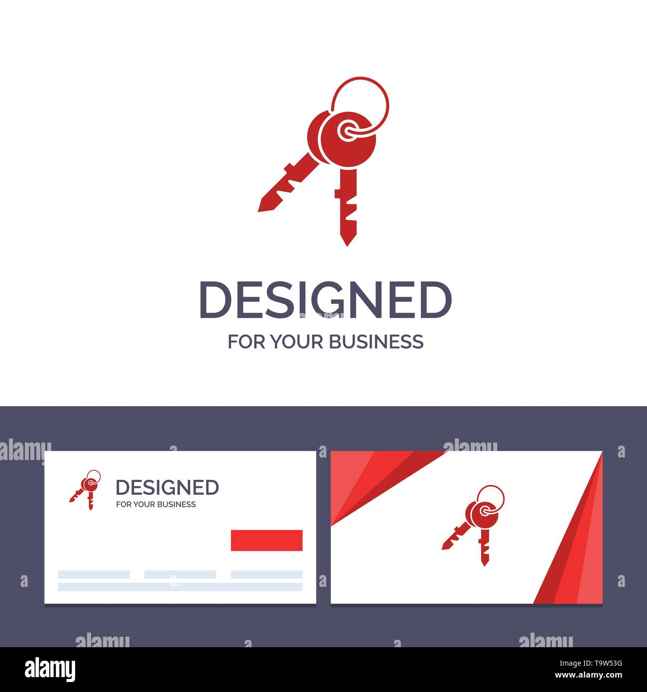 Creative Business Card and Logo template Keys, Door, House, Home Vector Illustration - Stock Image