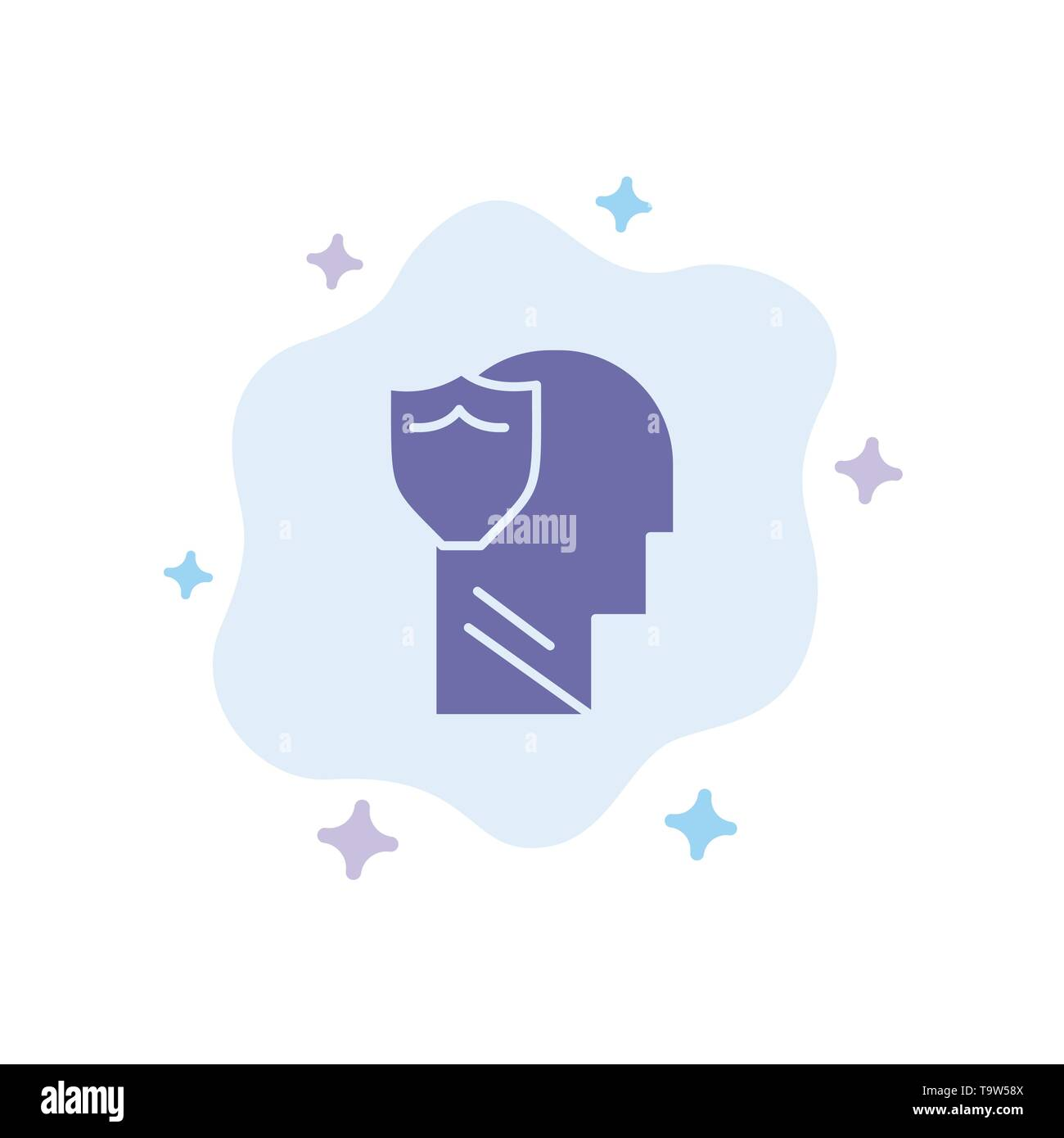 Shield, Secure, Male, User, Data Blue Icon on Abstract Cloud Background - Stock Image