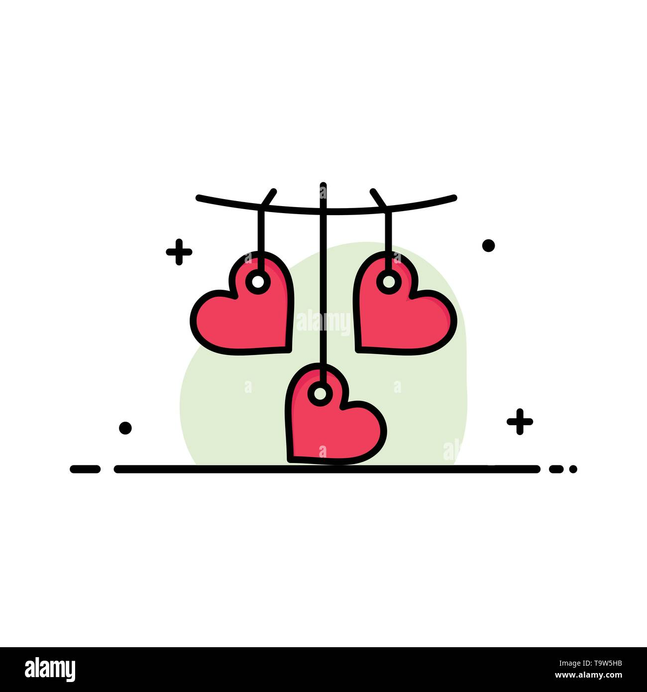 Heart, Valentine, Love, Hanging  Business Flat Line Filled Icon Vector Banner Template - Stock Image