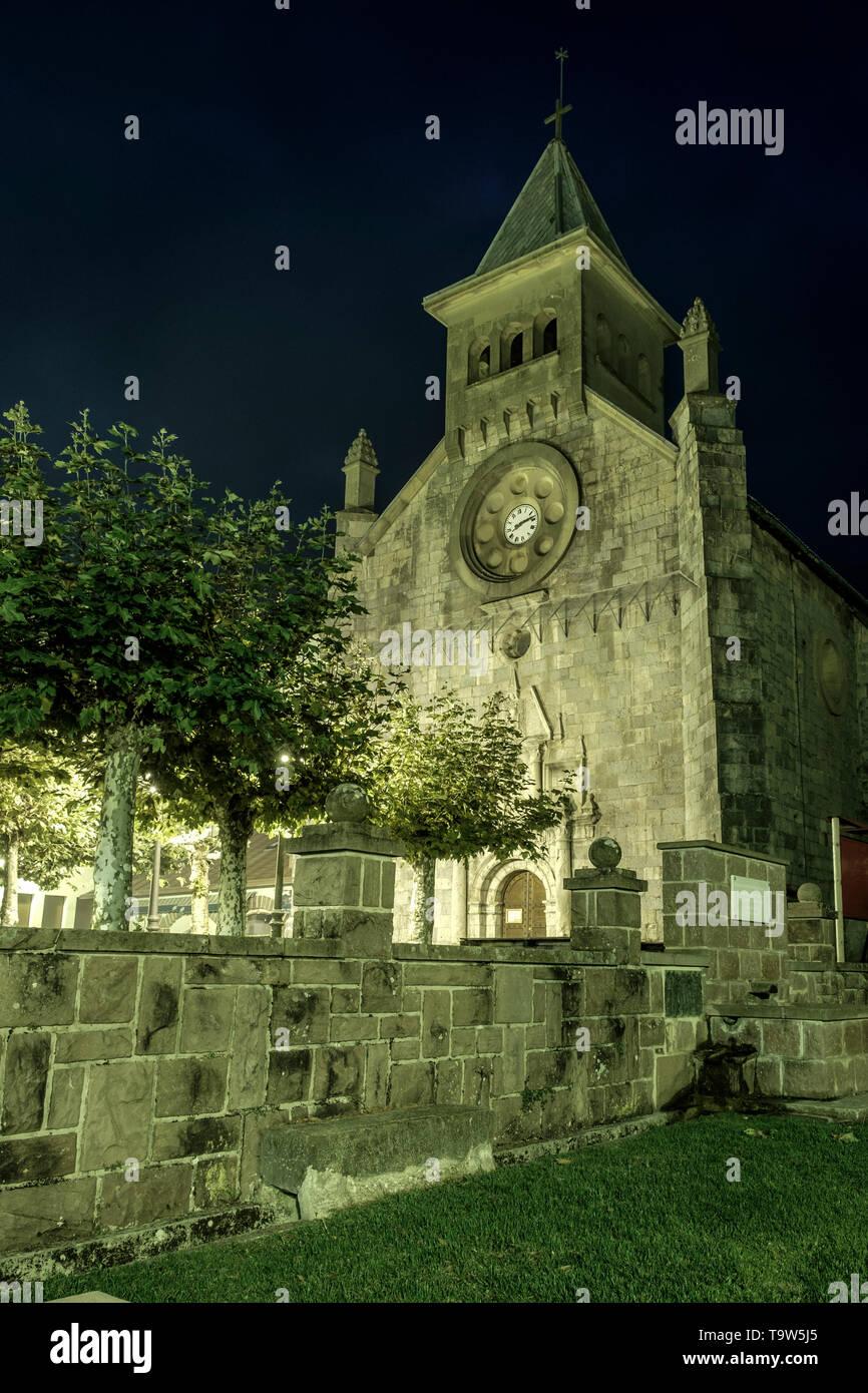 Burguete Church, Roncesvalles, Navarre, Spain - Stock Image