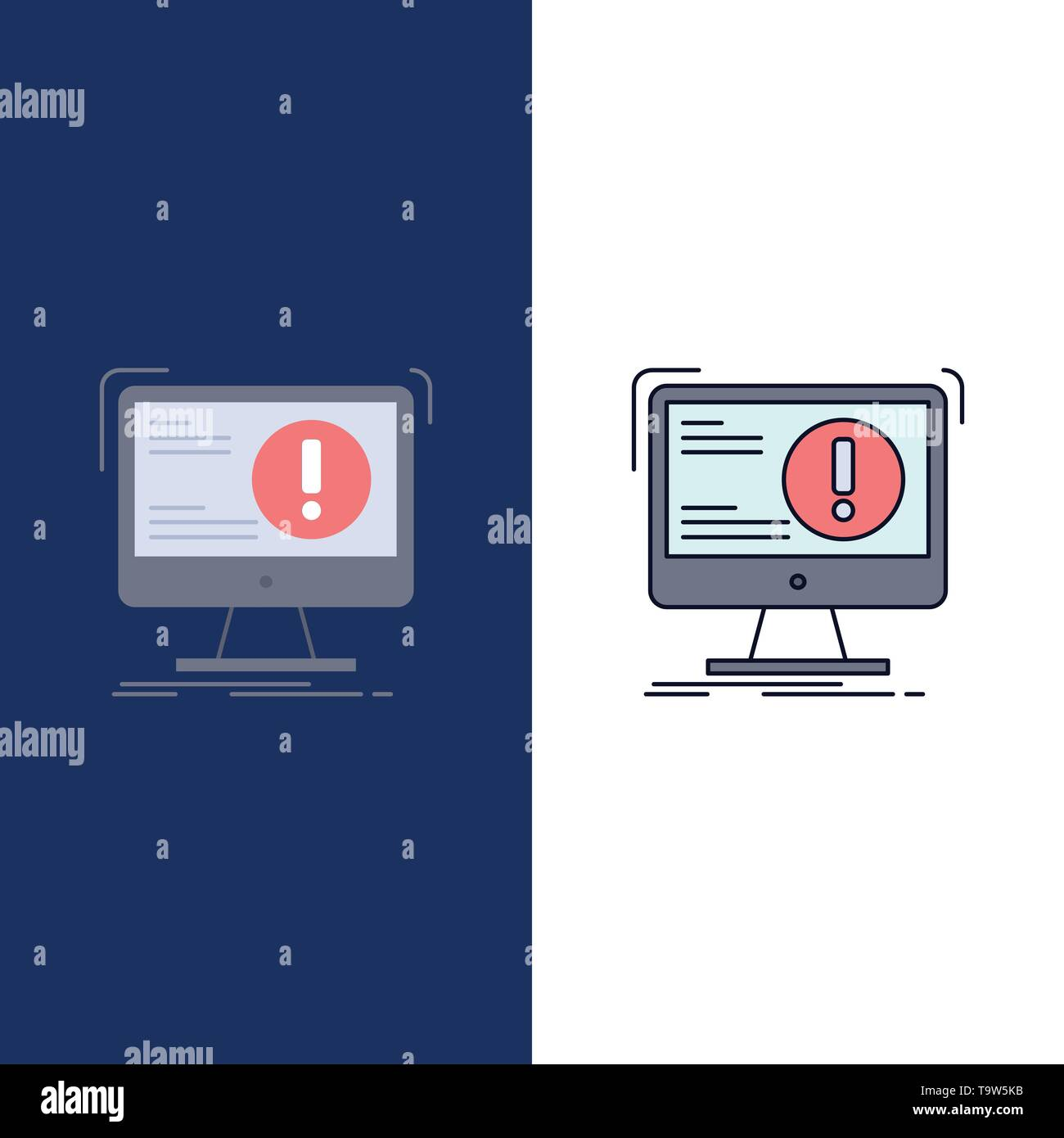 Alert, antivirus, attack, computer, virus Flat Color Icon Vector - Stock Image