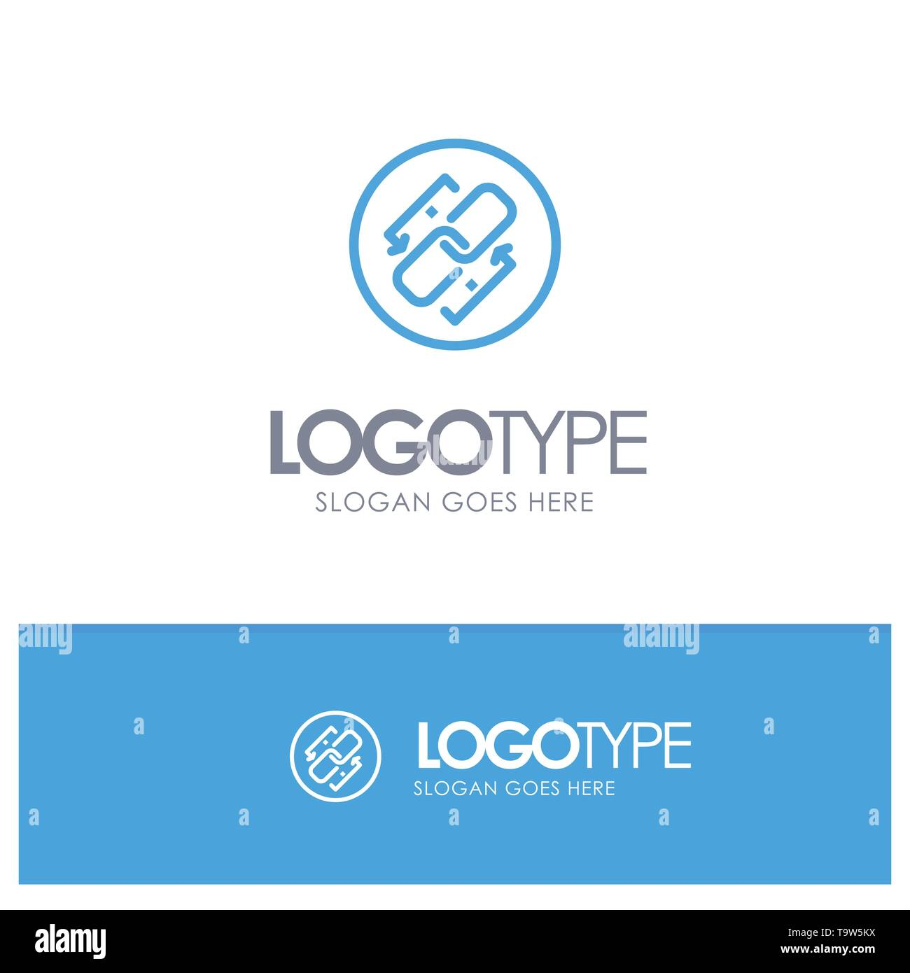 Link, Chain, Url, Connection, Link Blue outLine Logo with place for tagline - Stock Image