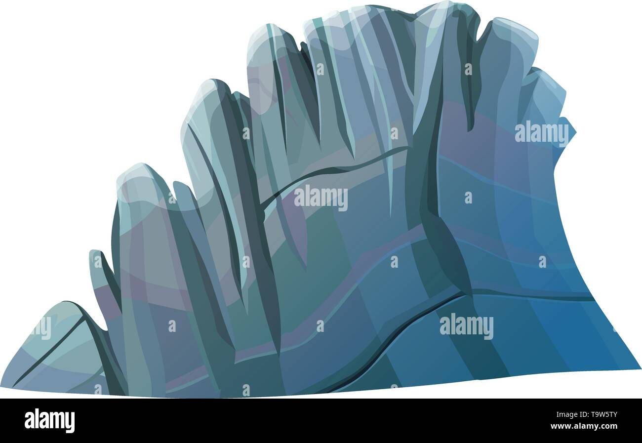 vector big cartoon rocky cliff, rock stone solated on white - Stock Image