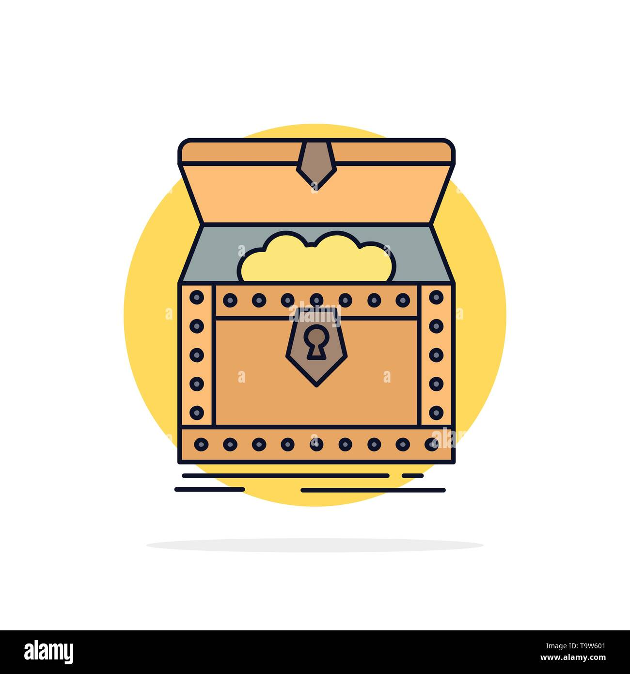 Box, chest, gold, reward, treasure Flat Color Icon Vector - Stock Image