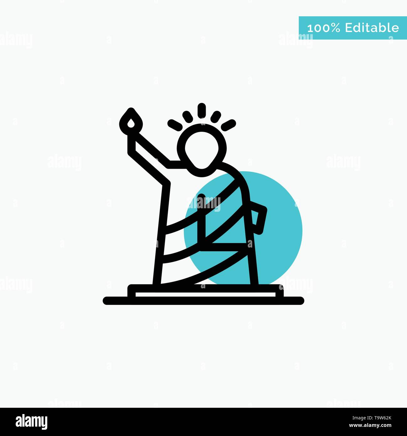Landmarks, Liberty, Of, Statue, Usa turquoise highlight circle point Vector icon Stock Vector