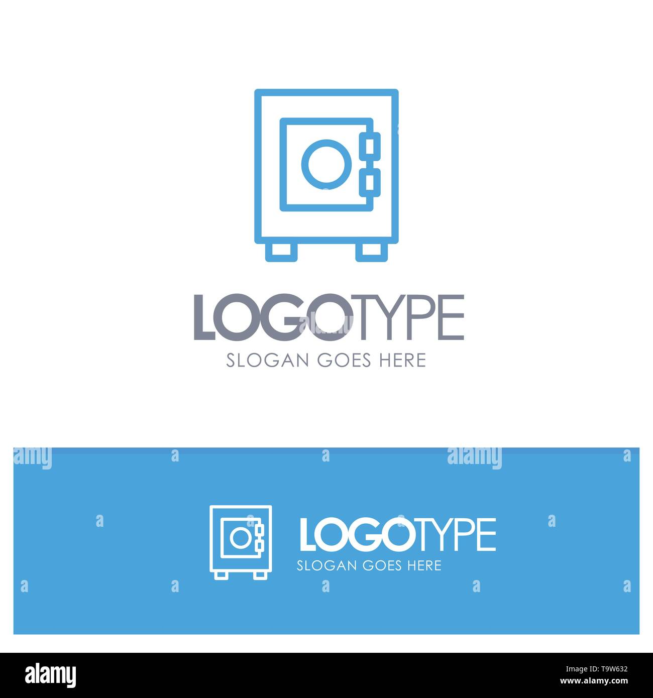 Locker, Lock, User Blue Outline Logo Place for Tagline - Stock Image