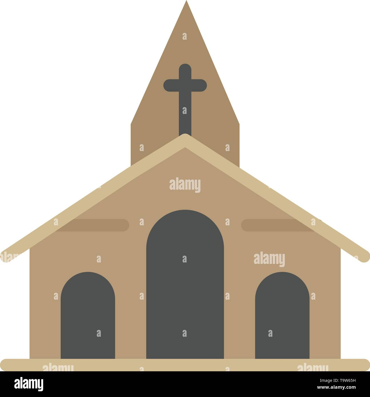 Building, Christmas, Church, Spring  Flat Color Icon. Vector icon banner Template - Stock Image