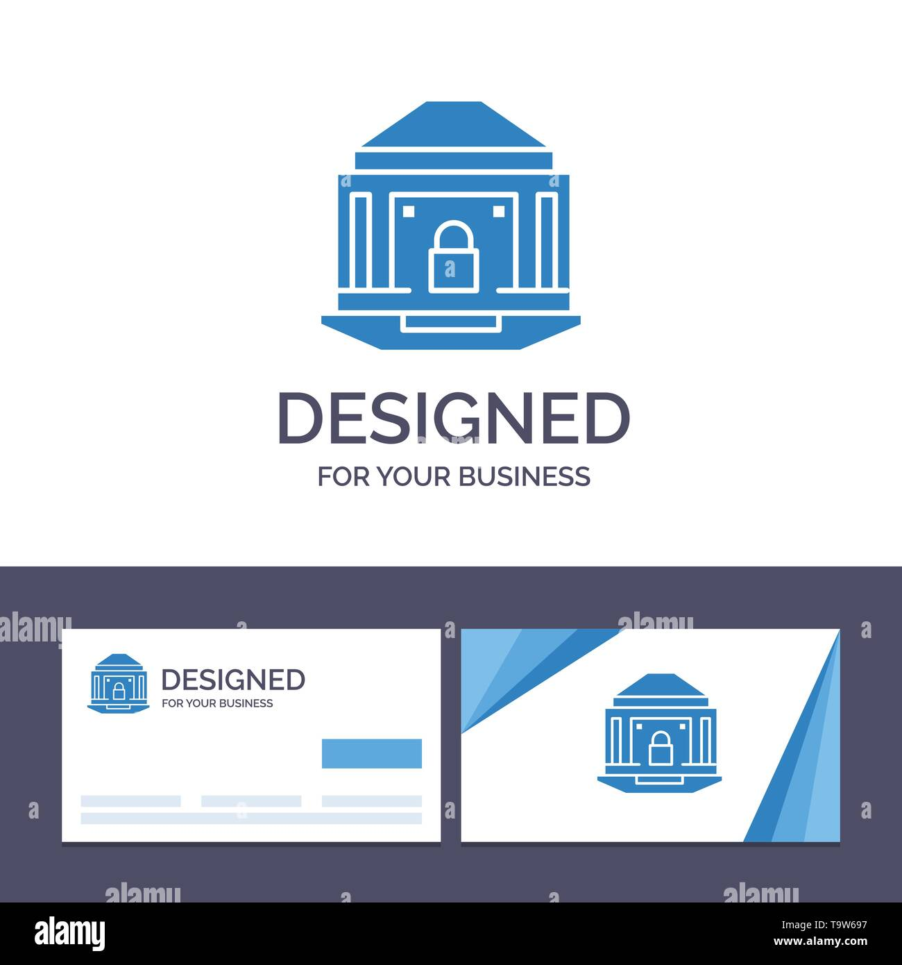 Creative Business Card and Logo template Bank, Banking, Internet, Lock, Security Vector Illustration - Stock Image