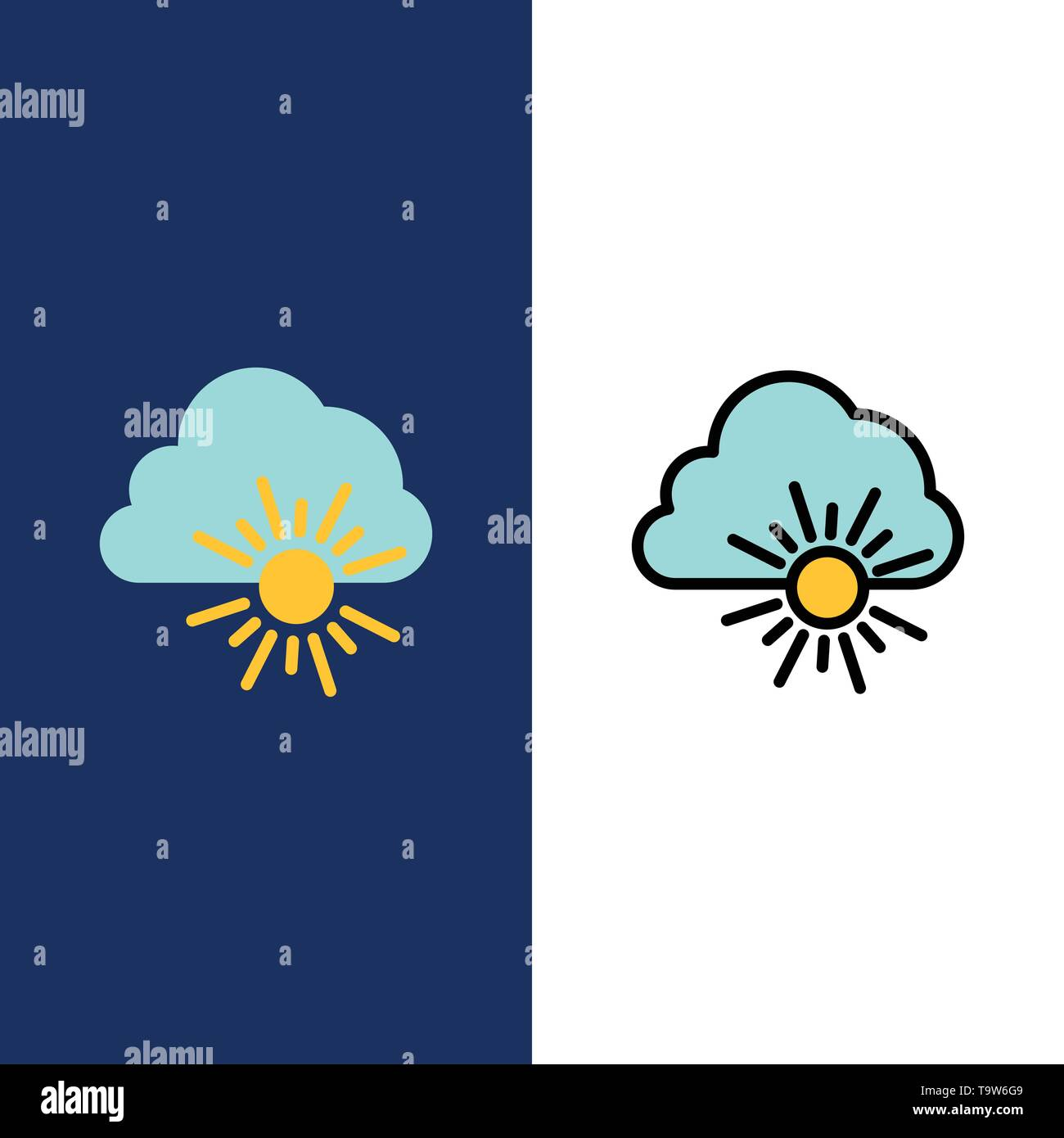 Cloud, Nature, Spring, Sun  Icons. Flat and Line Filled Icon Set Vector Blue Background - Stock Image