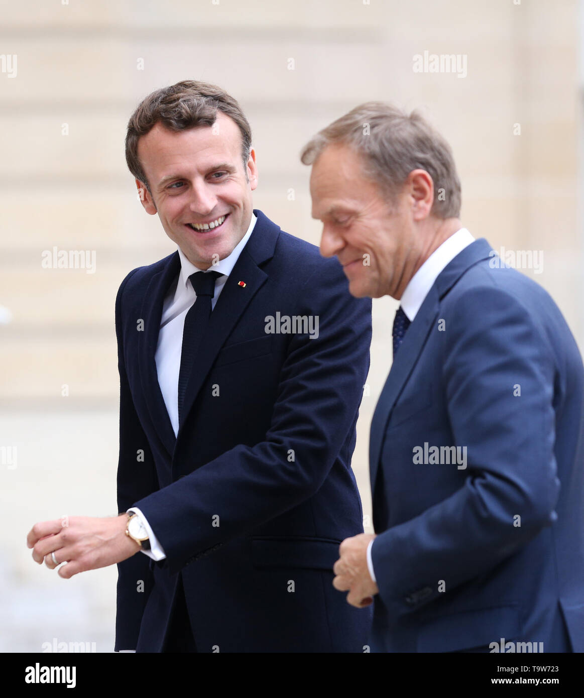 Paris, France. 20th May, 2019. French President Emmanuel Macron (L) meets with visiting European Council President Donald Tusk at the Elysee Palace in Paris, France, May 20, 2019. Credit: Gao Jing/Xinhua/Alamy Live News - Stock Image