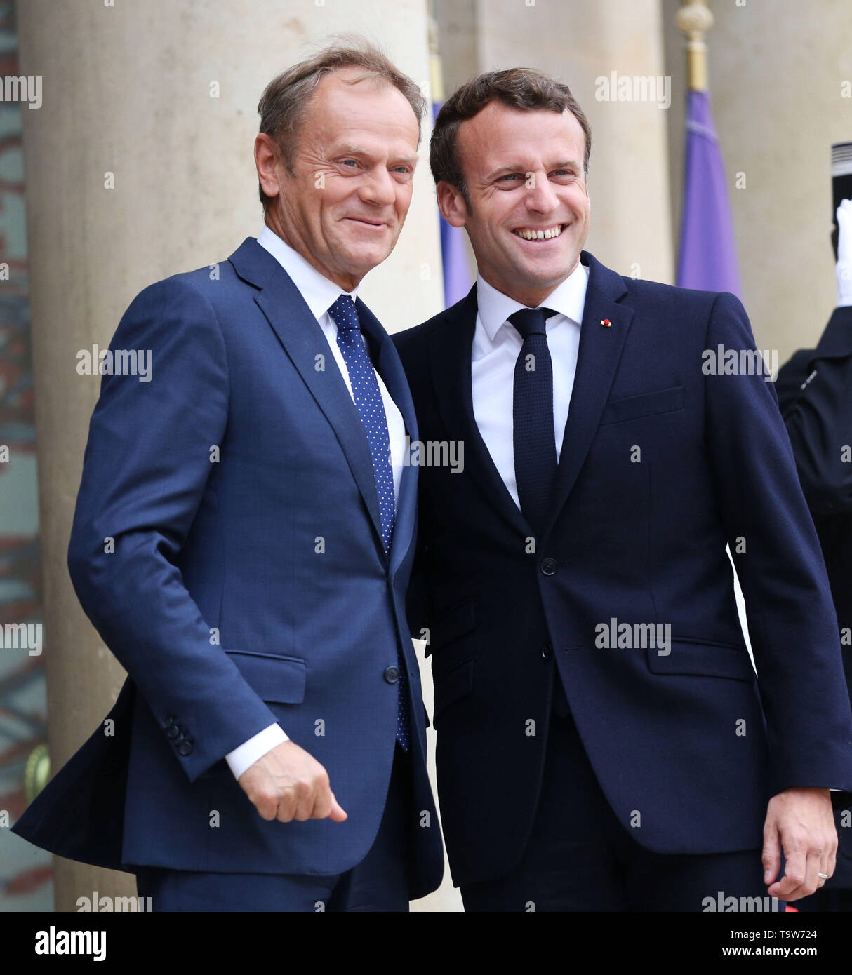 Paris, France. 20th May, 2019. French President Emmanuel Macron (R) meets with visiting European Council President Donald Tusk at the Elysee Palace in Paris, France, May 20, 2019. Credit: Gao Jing/Xinhua/Alamy Live News - Stock Image