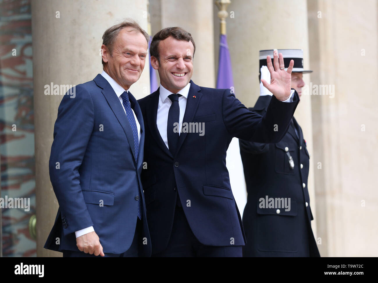 Paris, France. 20th May, 2019. French President Emmanuel Macron (C) meets with visiting European Council President Donald Tusk at the Elysee Palace in Paris, France, May 20, 2019. Credit: Gao Jing/Xinhua/Alamy Live News - Stock Image