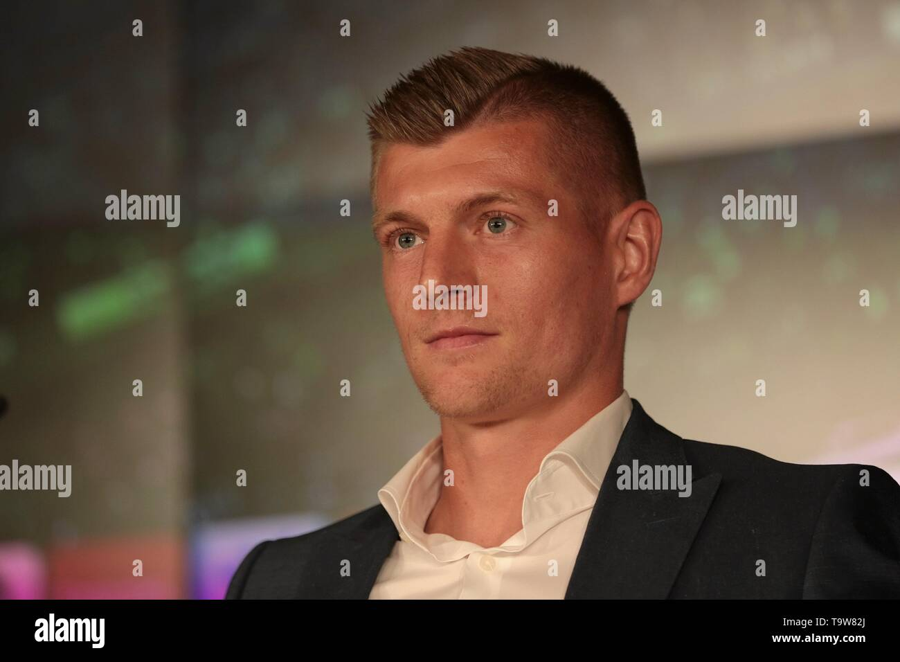 Madrid, Spain; 20/05/2019. Press conference Real Madrid CF and Toni Kroos have agreed to extend the player's contract, which remains linked to the club until June 30, 2023. And director of institutional relations of the club Emilio Butragueño. Santiago Bernabeu stadium. Photo: Juan Carlos Rojas/Picture Alliance   usage worldwide - Stock Image