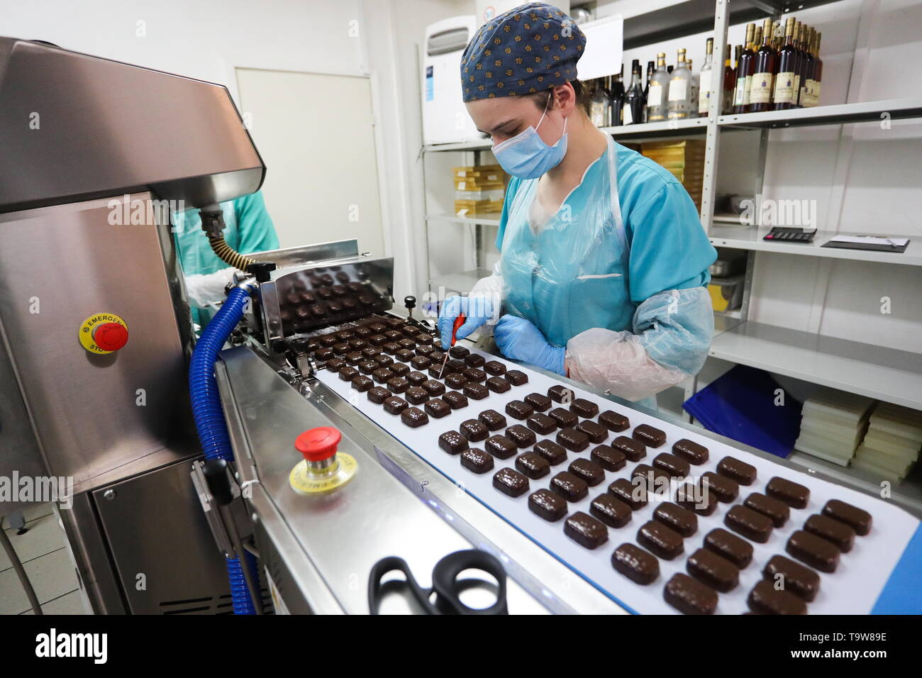 St Petersburg, Russia. 20th May, 2019. ST PETERSBURG, RUSSIA - MAY 20, 2019: Production of sweets bearing images of Russian President Vladimir Putin at the GC - Golden Candies factory. Peter Kovalev/TASS Credit: ITAR-TASS News Agency/Alamy Live News - Stock Image