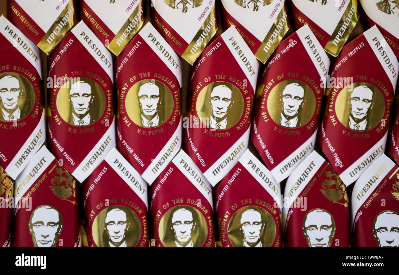 St Petersburg, Russia. 20th May, 2019. ST PETERSBURG, RUSSIA - MAY 20, 2019: Sweet wrappers bearing images of Russian President Vladimir Putin produced at the GC - Golden Candies factory. Peter Kovalev/TASS Credit: ITAR-TASS News Agency/Alamy Live News - Stock Image
