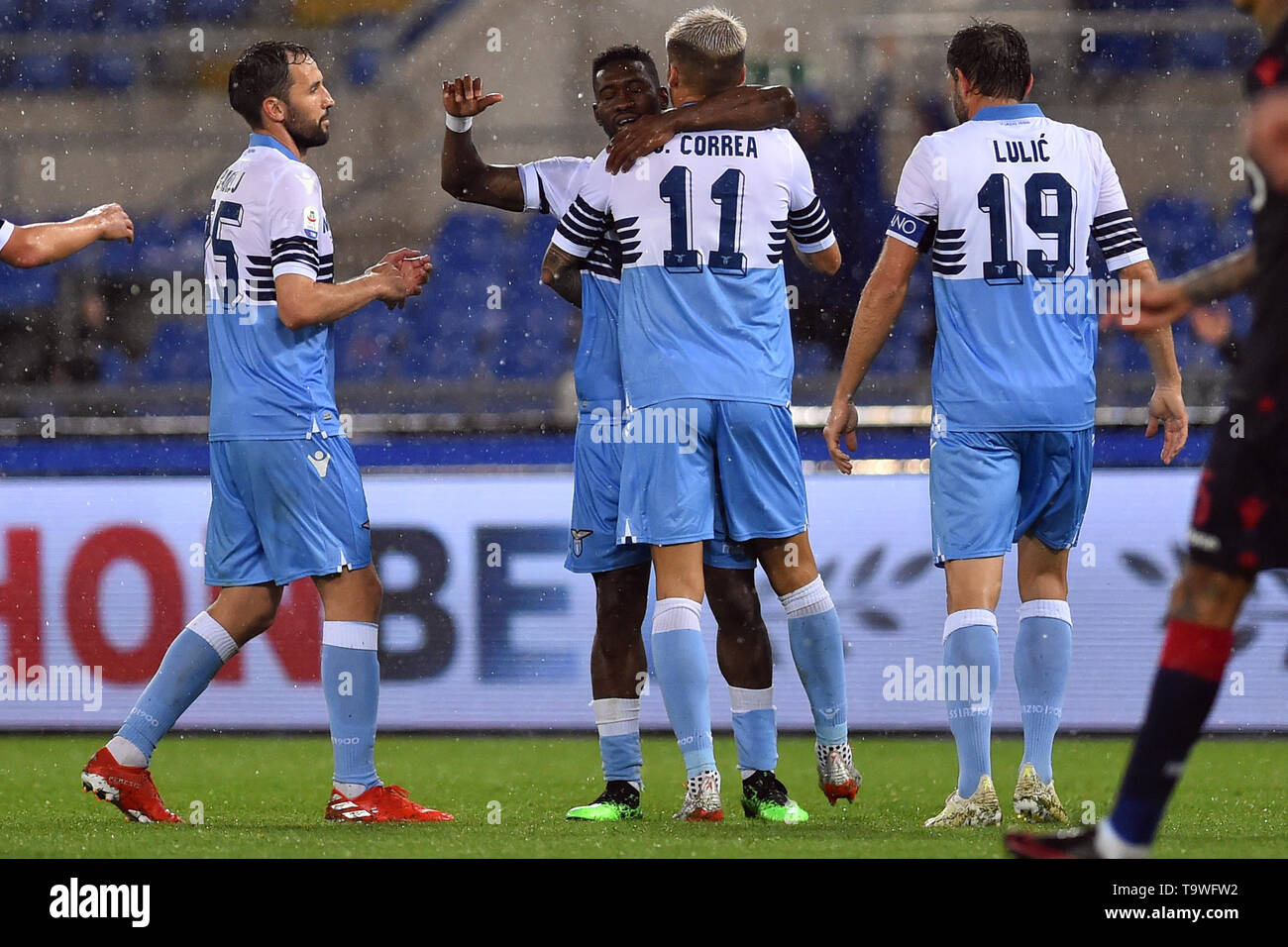 Rome, Italy. 21st May, 2019. Serie A Lazio vs Bologna Stadio Olimpico.Rome 20-05-2019 In the picture Bartolomeu Jacinto Quissanga Bastos rejoices after scoring the goal Foto Fotografo01 Credit: Independent Photo Agency/Alamy Live News - Stock Image