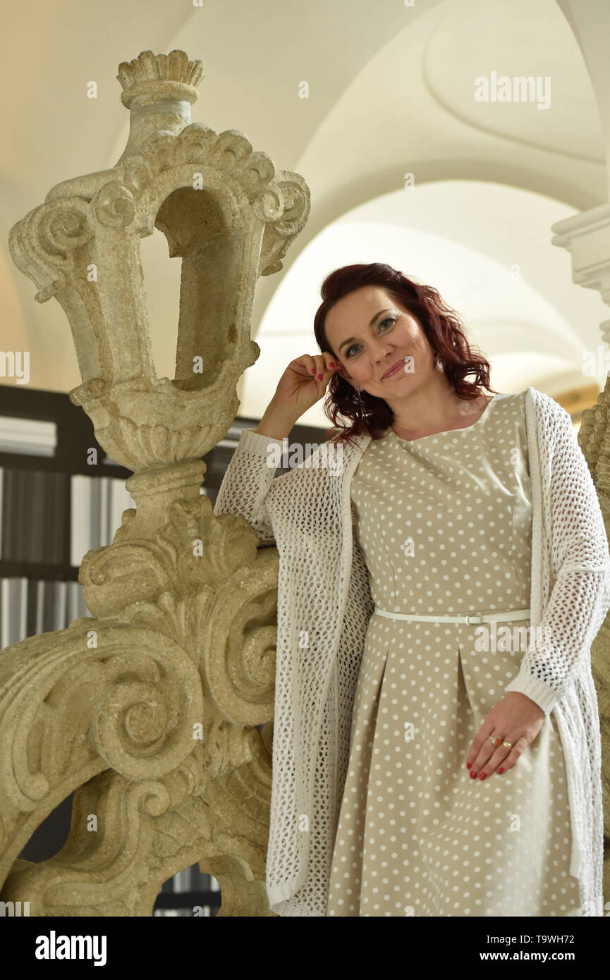 "Brno, Czech Republic. 20th May, 2019. Czech soprano Jana Srejma Kacirkova poses for the photographer during an informal meeting with journalists on the ""Three Fragments from Juliette/The Human Voice"" performance by the National Theatre Brno, on May 20, 2019, in Brno, Czech Republic. The premiere will be on June 14, 2019. Credit: Vaclav Salek/CTK Photo/Alamy Live News Stock Photo"
