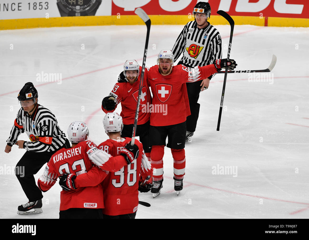 Bratislava, Slovakia. 21st May, 2019. L-R Philipp Kurashev, Lukas Frick, Lino Martschini and Tristan Scherwey (all SUI) celebrate Frick's goal during the match between Czech Republic and Switzerland within the 2019 IIHF World Championship in Bratislava, Slovakia, on May 21, 2019. Credit: Vit Simanek/CTK Photo/Alamy Live News Stock Photo