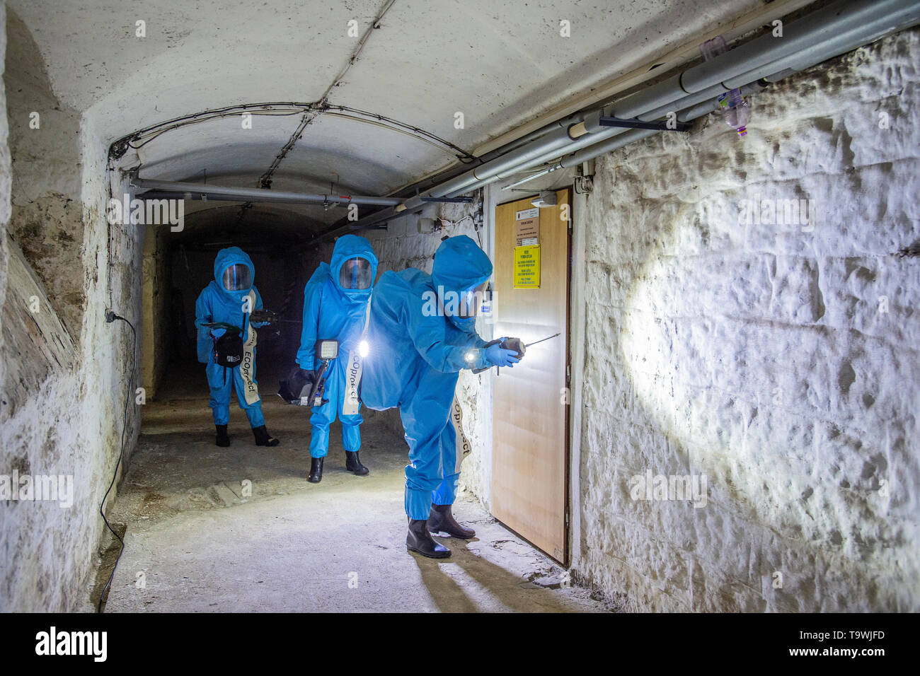 The international exercise of Allied Rapid Reaction Corps (ARRC) called Yellow Cross 2019 was held in Liberec, Czech Republic, on May 21, 2019. An example of a sampling group's activity in a simulated environment of an illegal chemical laboratory was demonstrated by military chemists. (CTK Photo/Radek Petrasek) Stock Photo