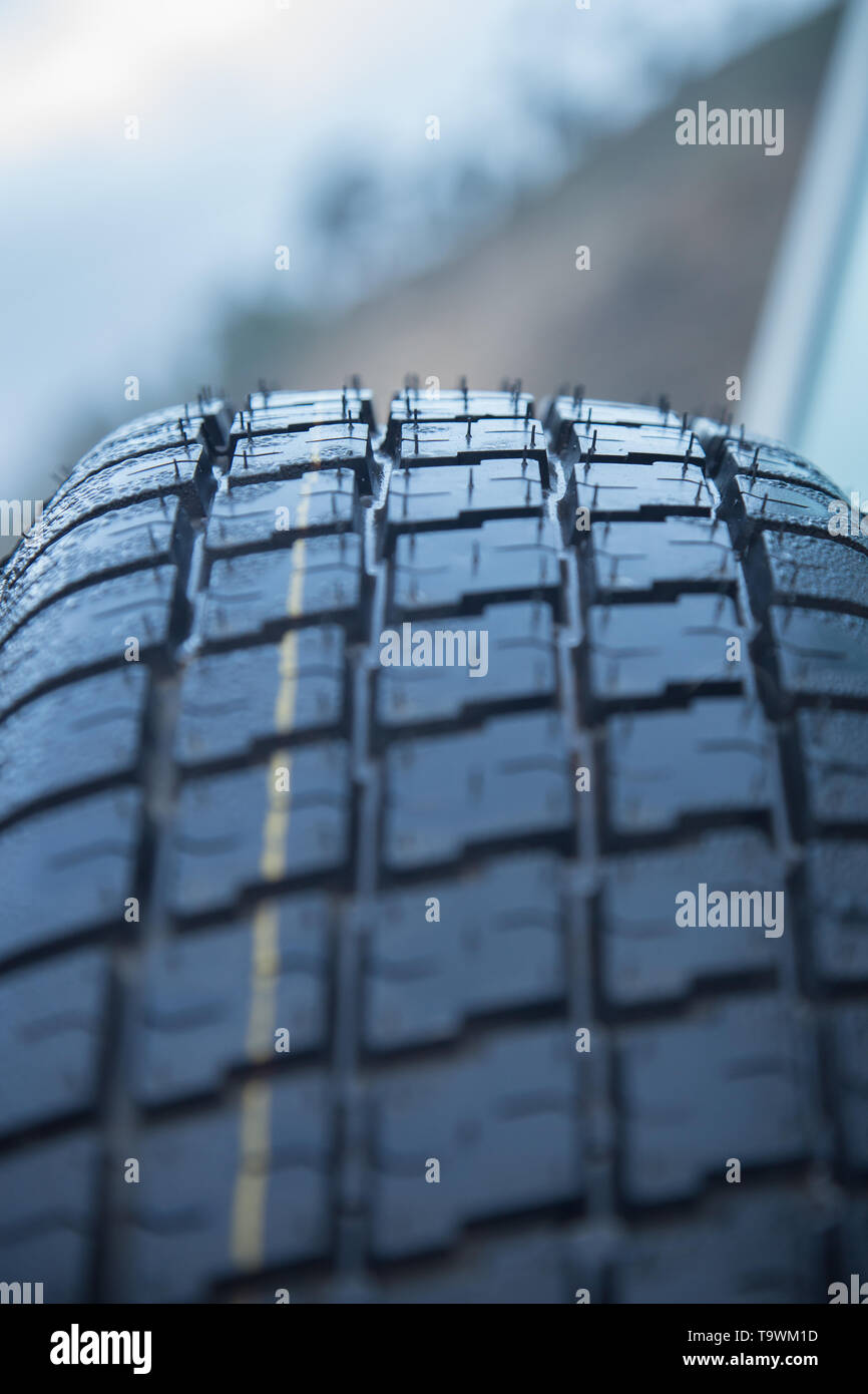 New car tyre closeup photo. With detail - Stock Image