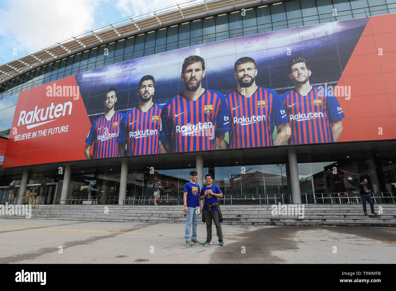 18th May 2019 , Camp Nou, Barcelona, Spain ;  Betfred Super League, Round 15, Catalans Dragons vs Wigan Warriors ; Fans outside Camp Nou  Credit: Mark Cosgrove/News Images - Stock Image