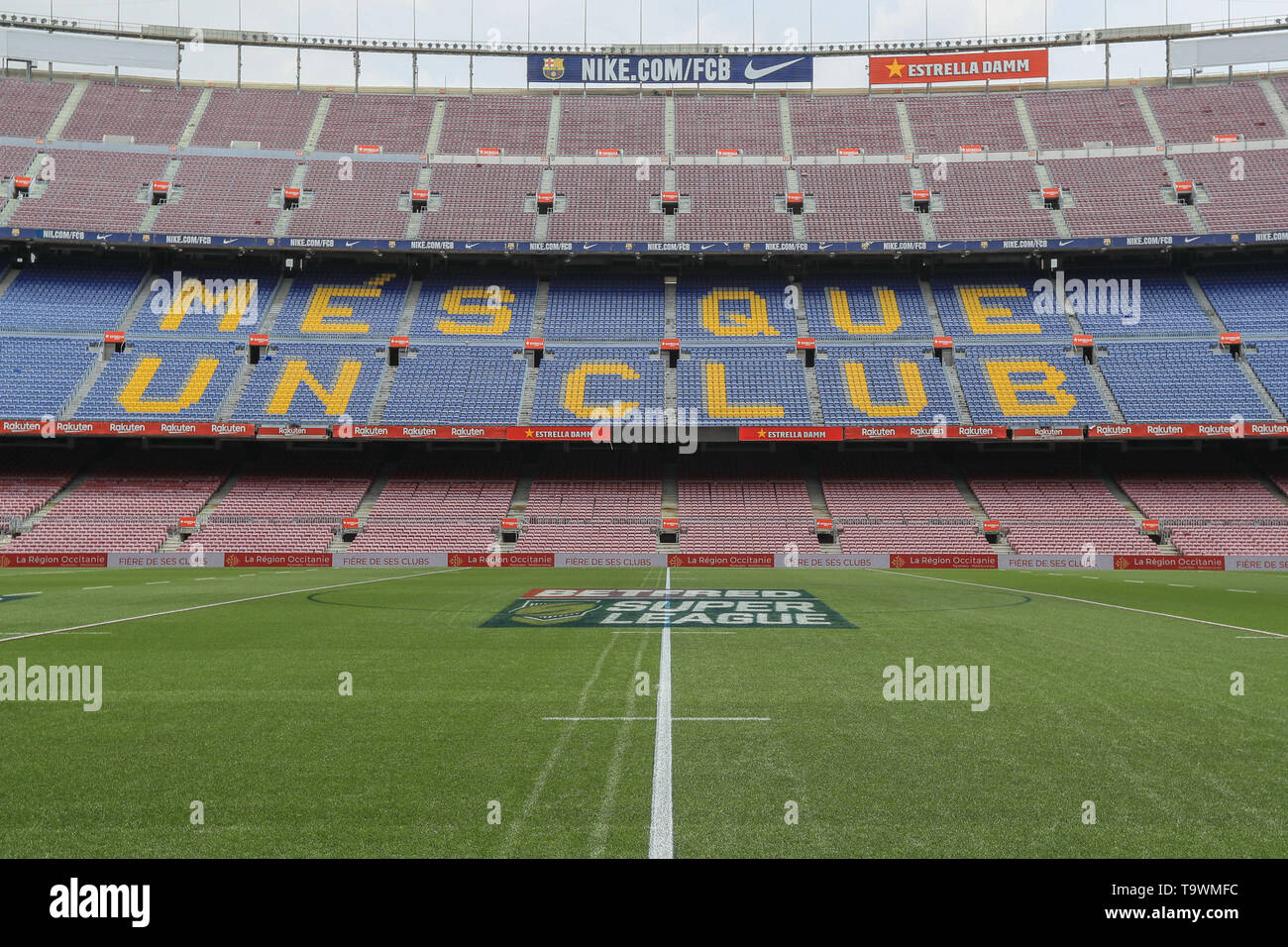18th May 2019 , Camp Nou, Barcelona, Spain ;  Betfred Super League, Round 15, Catalans Dragons vs Wigan Warriors ; A general view of Camp Nou  Credit: Mark Cosgrove/News Images - Stock Image