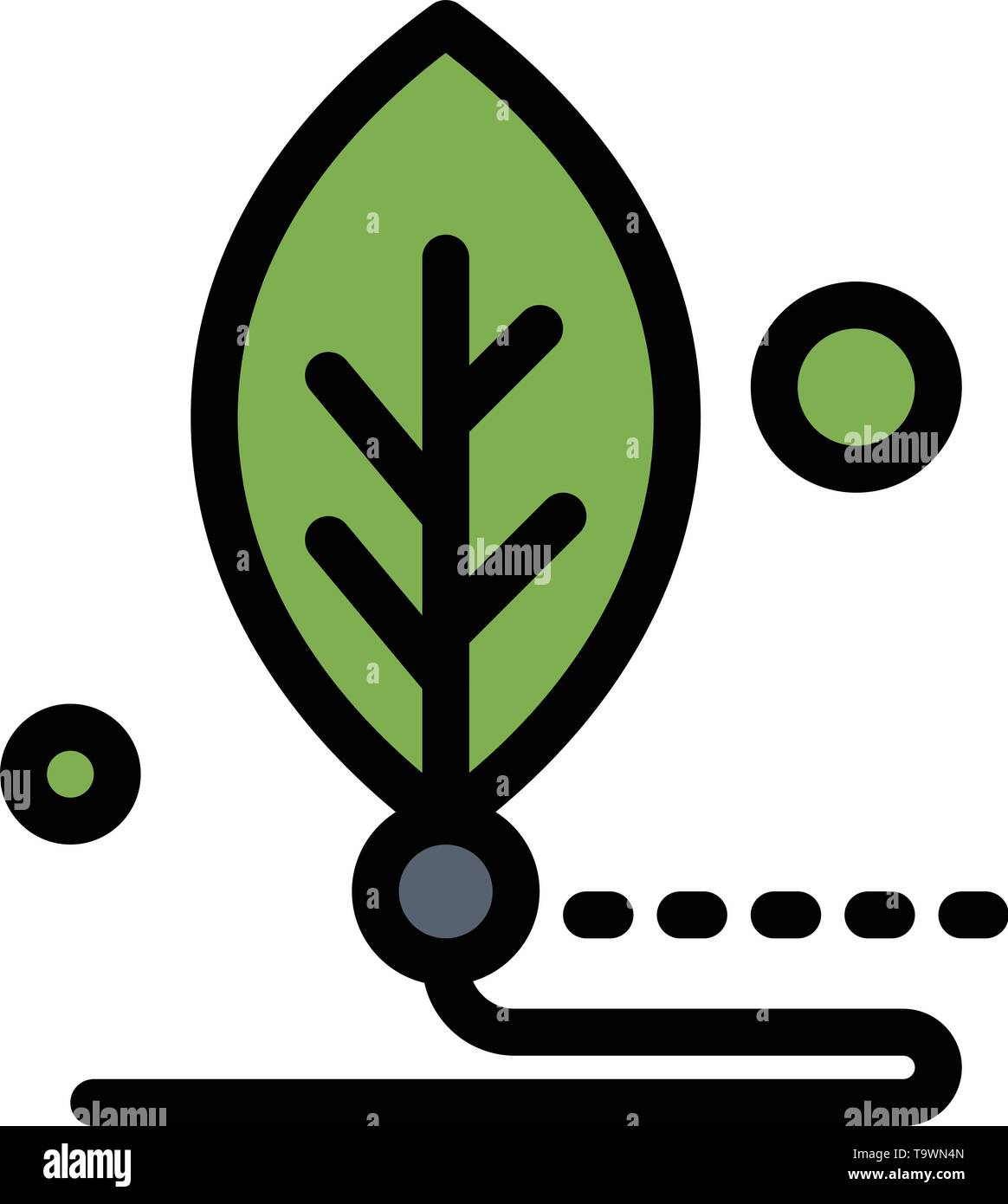 Artificial, Biology, Digital, Leaf, Life  Flat Color Icon. Vector icon banner Template - Stock Image