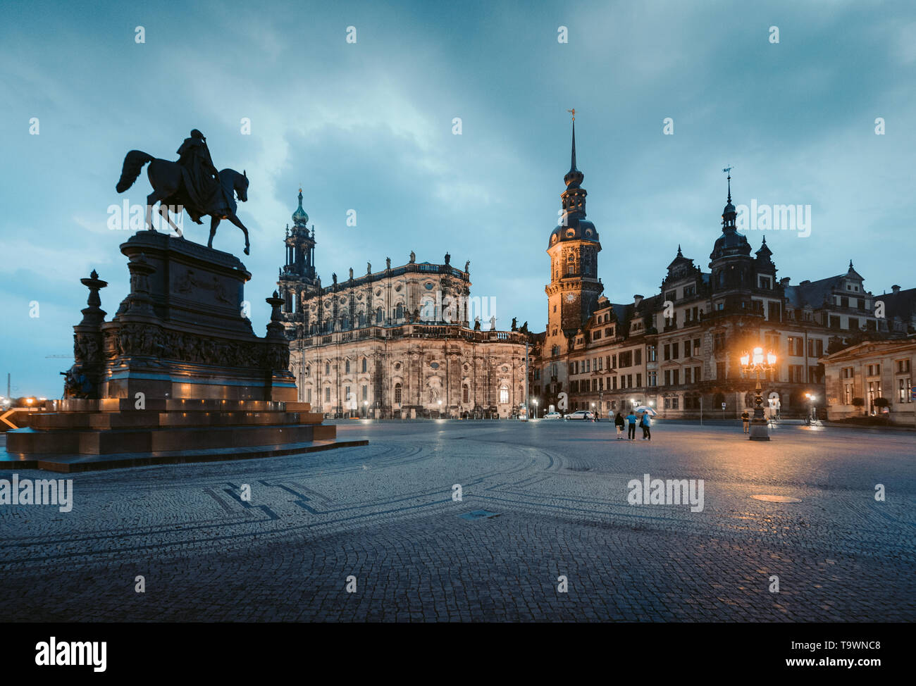 Classic twilight view of historic Dresden city center illuminated in beautiful evening twilight with dramatic sky during blue hour at dusk, Saxony, Ge - Stock Image