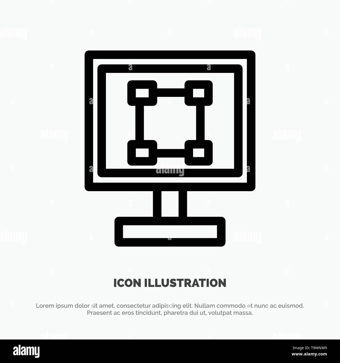 Crop, Graphics, Design, Program, Application Line Icon Vector - Stock Image