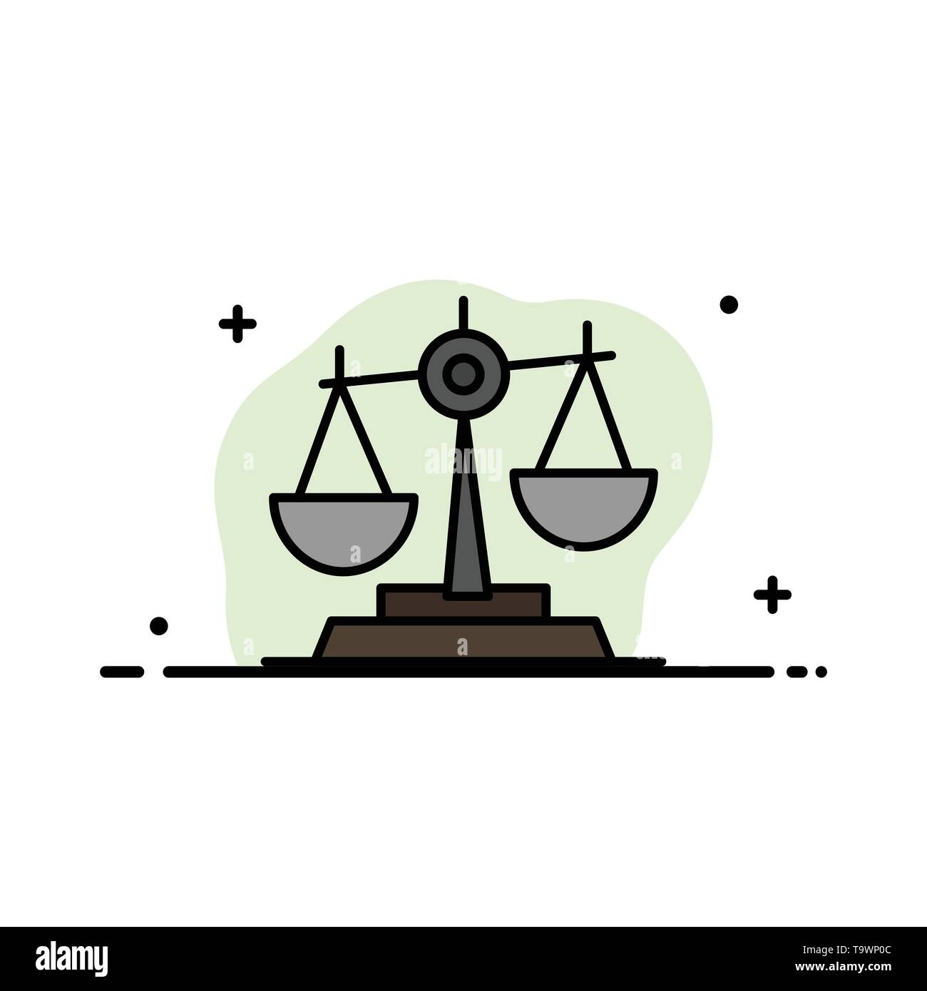 Balance, Court, Judge, Justice, Law, Legal, Scale, Scales  Business Flat Line Filled Icon Vector Banner Template - Stock Image