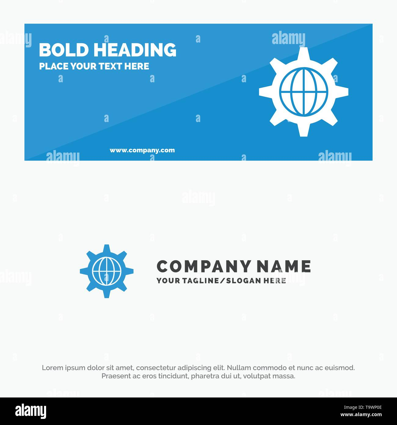 Security, World, Globe, Internet SOlid Icon Website Banner and Business Logo Template - Stock Image