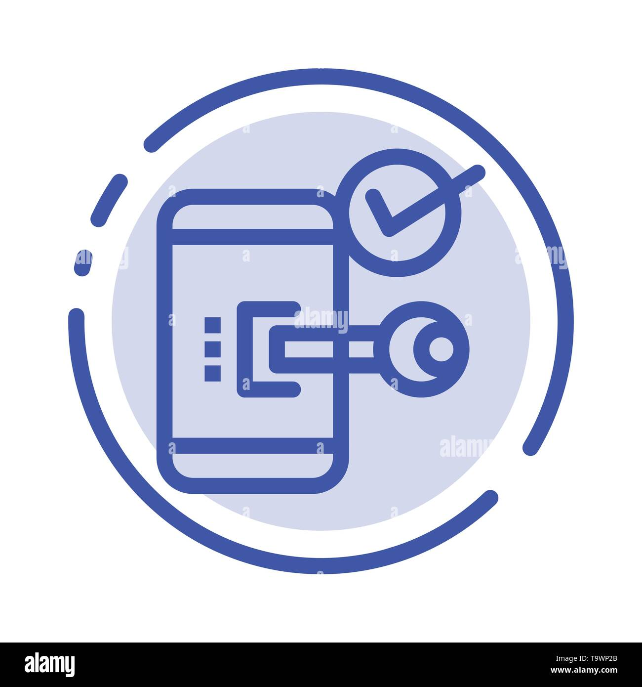 Key, Lock, Mobile, Open, Phone, Security Blue Dotted Line Line Icon - Stock Image